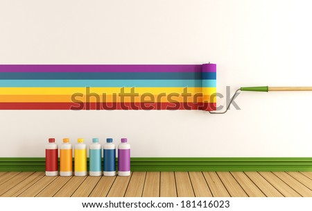 Select color swatch to paint wall in a empty room with samples of colorful paint - rendering  - stock photo