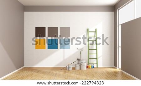 Select color swatch to paint wall in a minimalist room -  3D rendering - stock photo