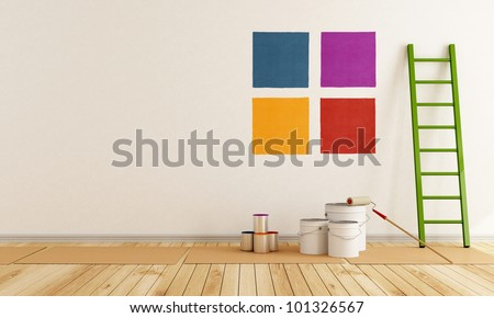 select color swatch to paint wall in a white room rendering stock