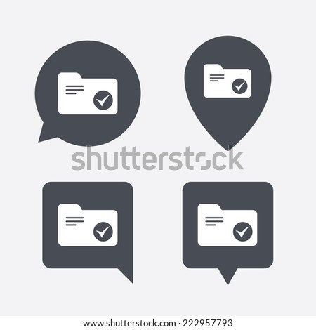 Select document folder sign. Accounting binder symbol. Bookkeeping management. Map pointers information buttons. Speech bubbles with icons. - stock photo