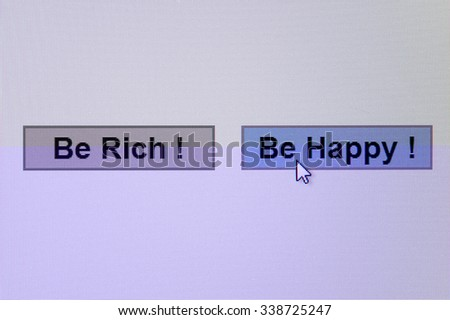 Selection buttons on the display. Be rich or be happy. Moire from display is visible only on the small preview, on the big picture no moire. - stock photo