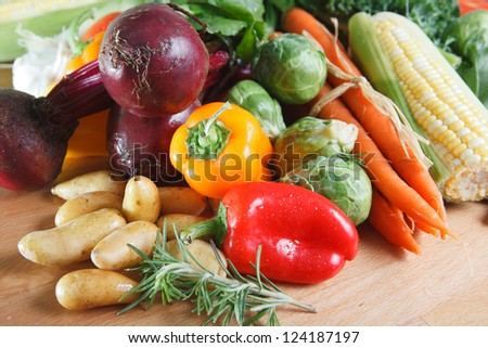 Selection of colorful fresh vegetables. - stock photo
