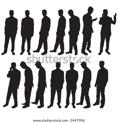 Selection of different business man silhouettes - stock photo