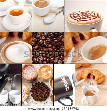 selection of different coffee type on collage composition nested black frame - stock photo