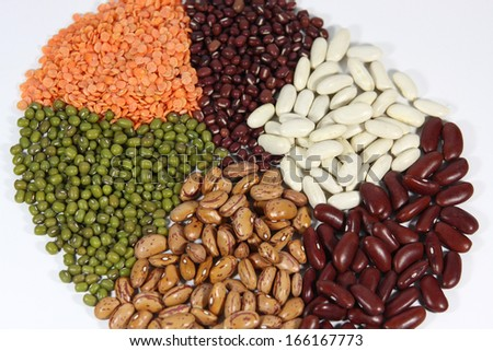 Selection of different kinds of beans. - stock photo