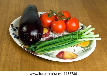Selection of fresh vegetables on a plate. 2 - stock photo