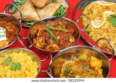 Selection of Indian curries - stock photo
