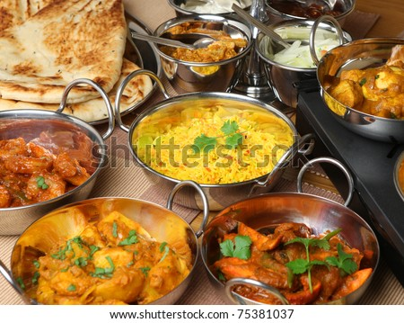 Selection of Indian food - stock photo