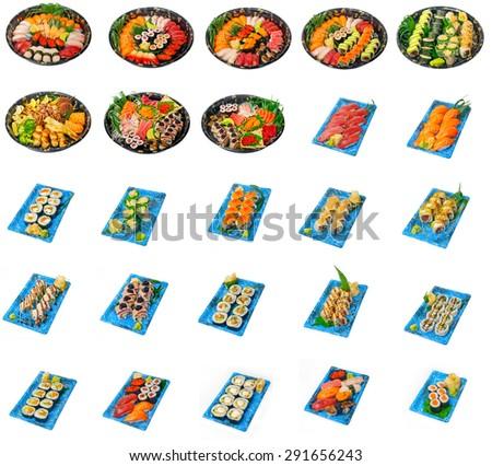 selection of 25 Japanese sushi dish collage isolated over white frame  - stock photo