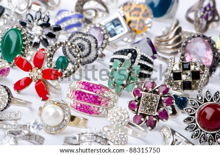 Selection of many precious rings - stock photo