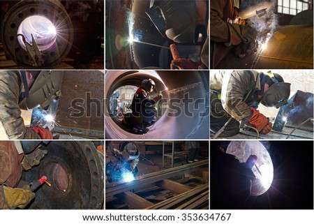 selection of photographs on the subject of welding works in different conditions - stock photo