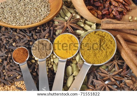Selection of powdered spices with seeds in the background - stock photo
