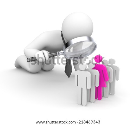 Selection of the personnel. Women metaphor - stock photo