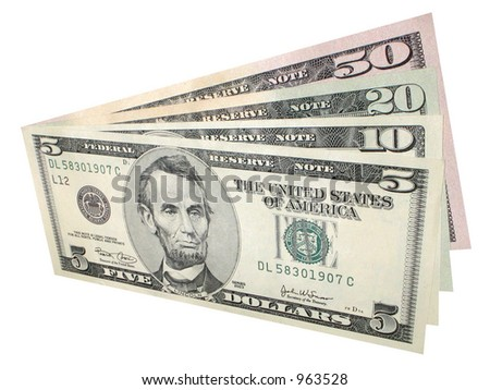 Selection of US currency - stock photo