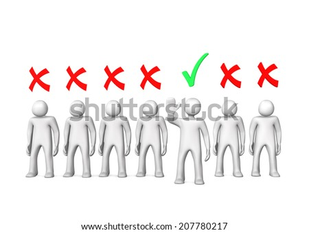Selection of white toon candidates on the white background. - stock photo