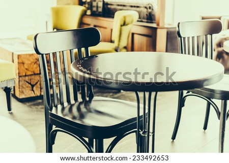 Selective chairs in coffee shop background - vintage effect style pictures - stock photo