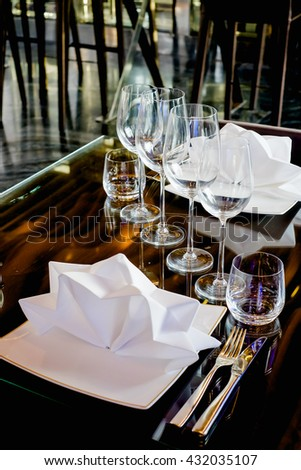 Selective focus at Luxury banquet table , Vertical picture - stock photo