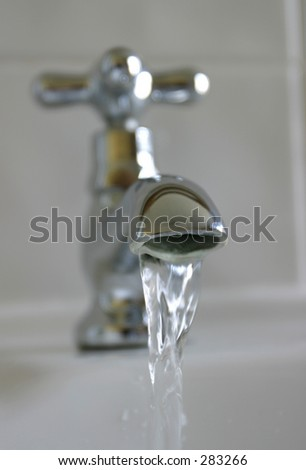 Selective focus close-up view of tap/faucet - stock photo