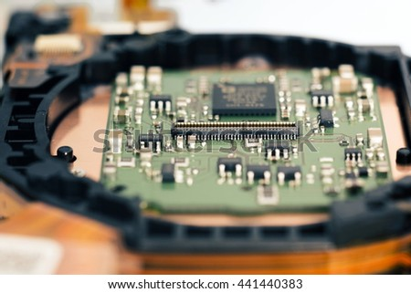 Selective focus,Connector on motherboard close-up shot,Electronic circuits board for background. - stock photo