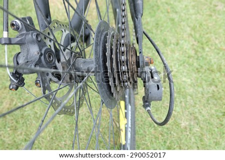 Selective focus of Bicycle gear - stock photo