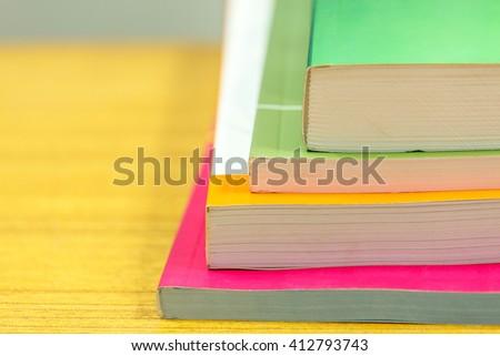 Selective focus of books - stock photo