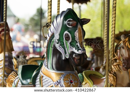 Selective focus of carousel horse - stock photo