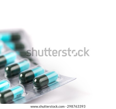 selective focus of close up the blue medicine capsule with text space  - stock photo