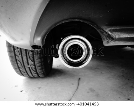 selective focus of  exhaust pipe  - stock photo