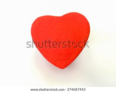 selective focus of red heart isolated on white background, gift of Valentine's day - stock photo