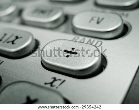 Selective focus on advanced financial calculator keyboard - stock photo