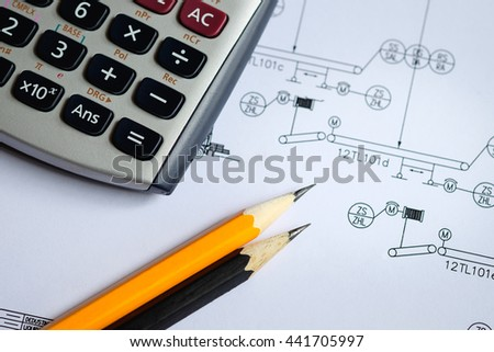 selective focus on pencil, design and calculate concept, Calculator and  pencil on process instrument diagram shop drawing, process engineering design in plant - stock photo
