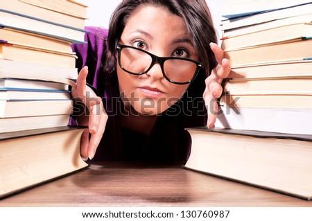 Selective focus on the female head - stock photo