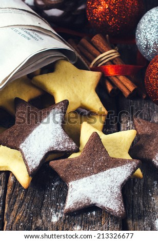 Selective focus on the front star shape gingerbread Christmas cookie - stock photo