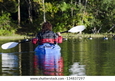Selective focus on the woman in her kayak on the calm lake with geese along the shoreline - stock photo