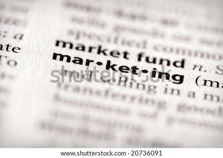 """Selective focus on the word """"marketing"""". Many more word photos in my portfolio... - stock photo"""