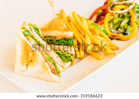 Selective focus point on Sandwiches - Vintage Filter - stock photo
