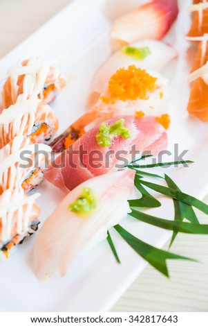 Selective focus point on sushi - Japanese food style and HDR Processing - stock photo