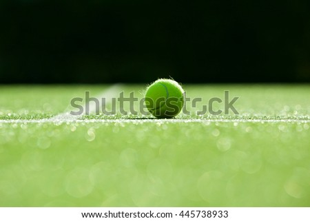 selective focus. tennis ball on tennis grass court good for background - stock photo