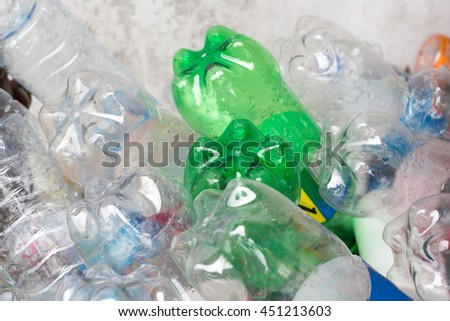 Selective focus,varicolored plastic bottle in recyclable waste,Recyclable waste concept. - stock photo
