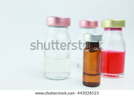 Selective focus vials and blurred background in the hospital. : medication, drugs, blood, laboratory.  - stock photo