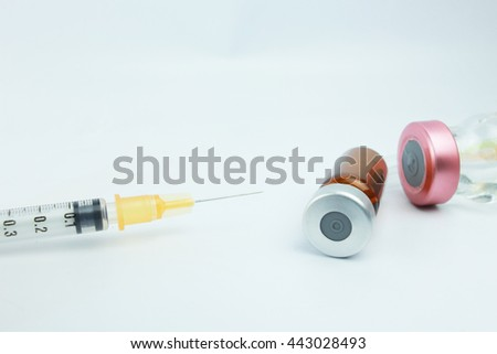 Selective focus vials and  blurred background in the hospital. : medication,vaccine, drugs, blood, laboratory. - stock photo
