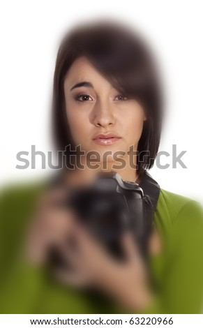 Selective focusing on gorgeous young photographer. - stock photo