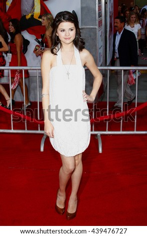 Selena Gomez at the Los Angeles Premiere of 'High School Musical 3: Senior Year' held at the Galen Center in Los Angeles, USA on October 16, 2008.  - stock photo