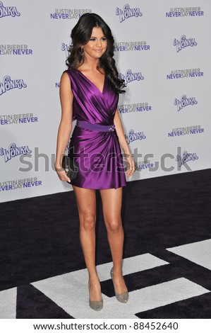 "Selena Gomez at the Los Angeles premiere of ""Justin Bieber: Never Say Never"" at the Nokia Theatre LA Live. February 8, 2011  Los Angeles, CA Picture: Paul Smith / Featureflash - stock photo"