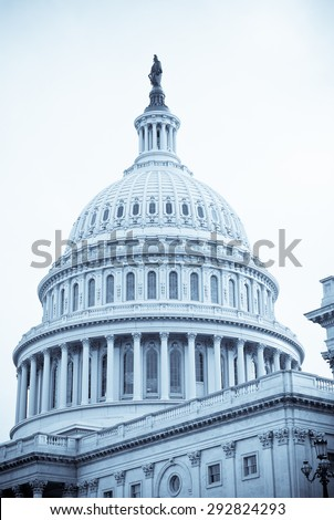 Selenium-toned image of dome of United States Capitol Building in Washington, D.C. Symbol of democracy. - stock photo