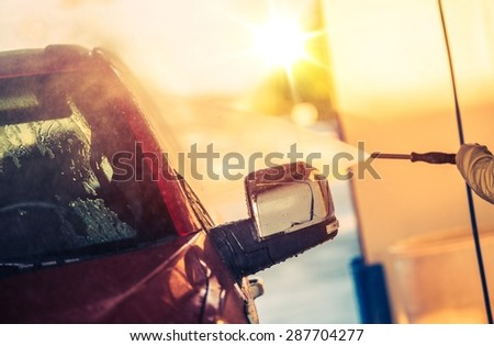 Self Car Wash Car Cleaning. High Pressure Cleaning. - stock photo