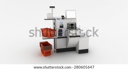 Self-checkout machine on a white background - stock photo