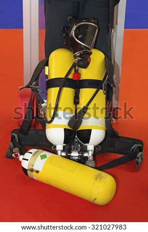 Self Contained Breathing Apparatus With Compressed Air For Firefighters - stock photo