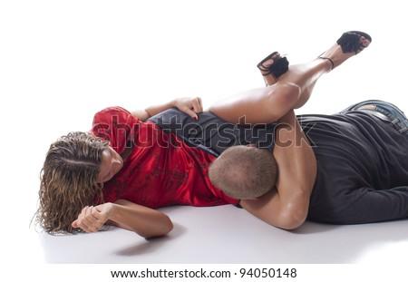 Self Defense Triangle Choke - stock photo