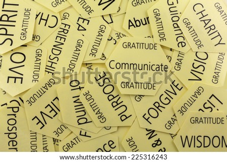 Self development therapy cards   -   Scattered random yellow self development cards showing healing words - stock photo